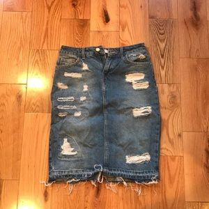Mid-High waisted Denim skirt